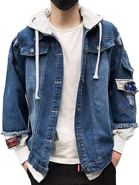 Heaven Days(ヘブンデイズ ) Gジャン デニムジャケット ジージャン ブルゾン ダメージ加工 フード付き 重ね着風 ワッペン メンズ 1911C0250