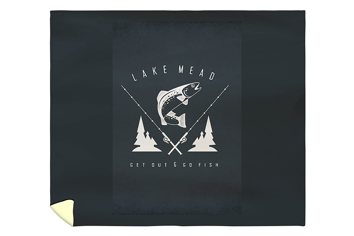 Lake Mead - Get Out and Fish - Trout and Poles - Badge (88x104 King Microfiber Duvet Cover)