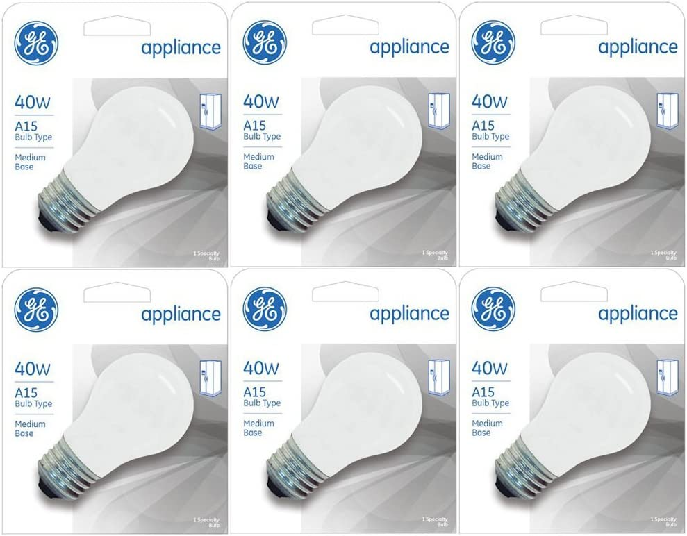 GE Appliance A15 Light Bulb, Inside Frost, 40-Watt, 355 Lumens, Medium Base, 3-1/2 Inches (6 Pack)