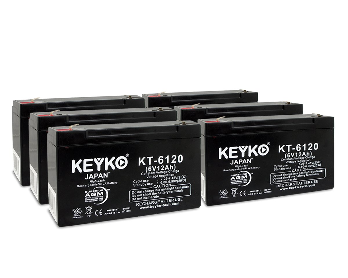Tripp-Lite 1000 USB 6V 12Ah SLA Sealed Lead Acid AGM Rechargeable Replacement Battery Genuine KEYKO (W/F1 Terminal) - 6 Pack