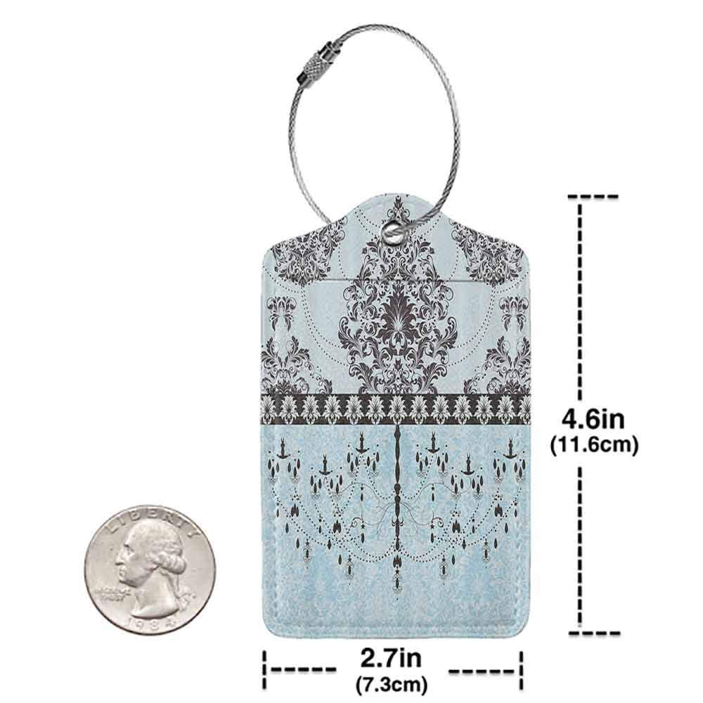 Multicolor luggage tag Elegant Vintage Invitation Card with Black Flowers Leaves Ribbon and Chandelier Print Hanging on the suitcase Light Blue Black W2.7 x L4.6
