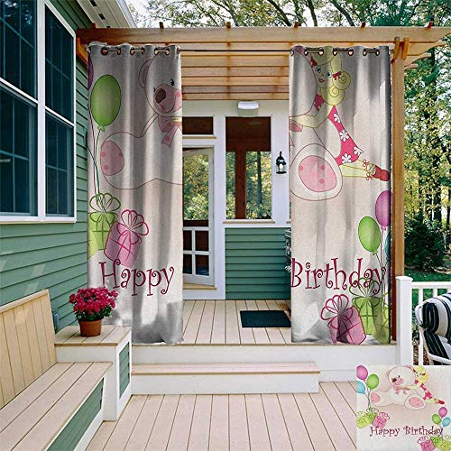 (Kids Birthday, Outdoor Curtain Pair, Baby Girl Birthday with Teddy Bears Toys Balloons Surprise Boxes Dolls Image, for Patio W84 x L108 Inch Pale Pink)