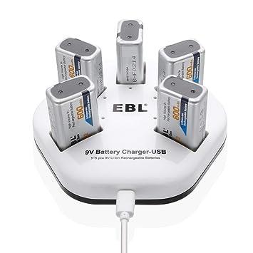 Amazon.com: EBL Fast 9 V Cargador de batería de litio USB ...