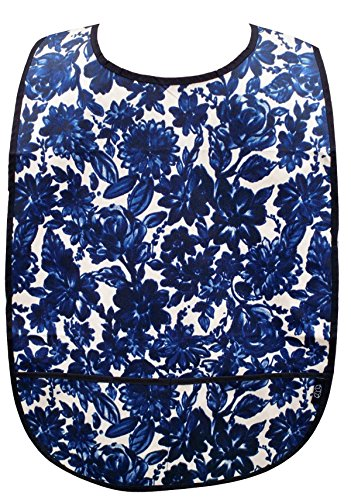Adult Clothing Protector with Front Pockets (Navy Floral) by Nibble and Dribble