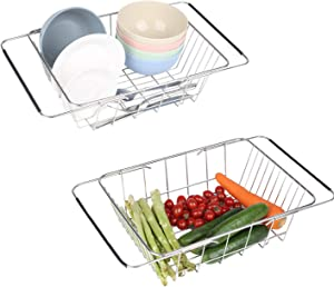 2 Pcs Expandable Dish Drying Rack,In or Over the Sink dish rack,Deep and Large Adjustable Dish Drainers,304 Stainless Steel Basket,Suitable for Fruits,Vegetables and Plates