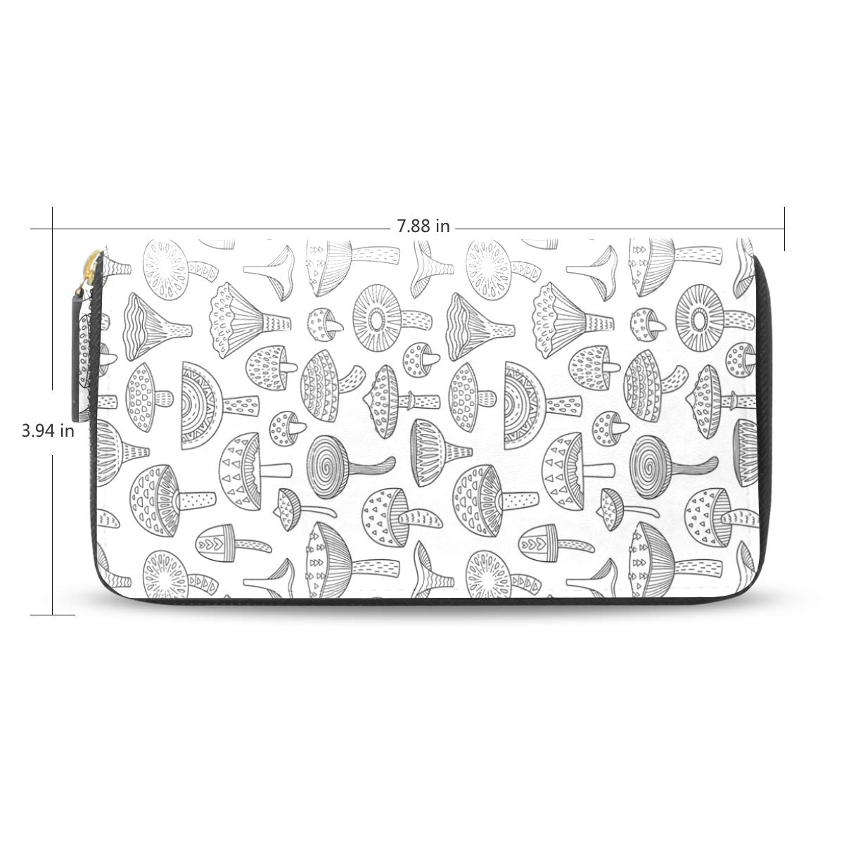 Women Mushrooms Ink Coloring Leather Wallet Large Capacity Zipper Travel Wristlet Bags Clutch Cellphone Bag