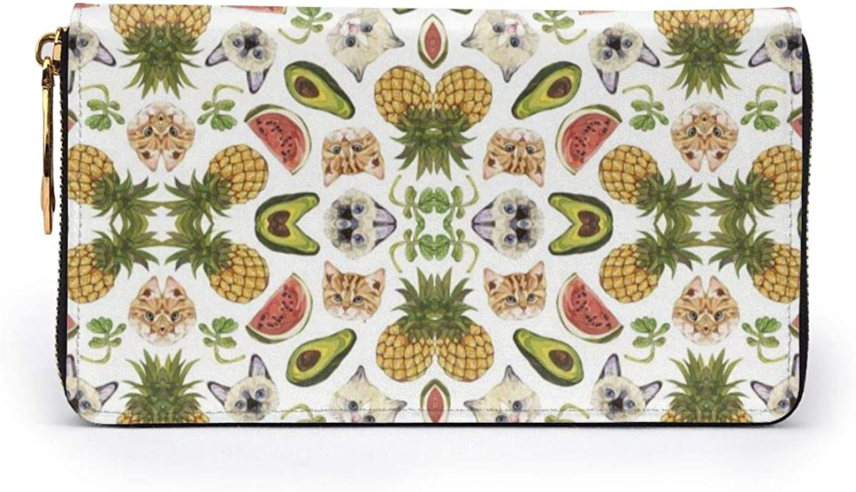 Avocado Watermelon Pineapple And Cat Womens RFID Blocking Zip Around Wallet Genuine Leather Clutch Long Card Holder Organizer Wallets Large Travel Purse