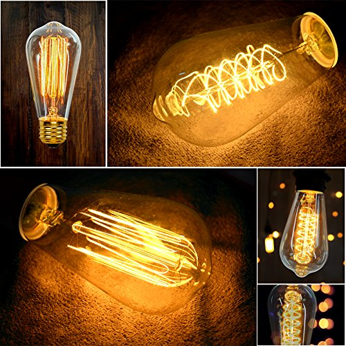 Vintage Edison Bulbs (12 Pack, 7 Squirrel Cage Filament Bulbs , 5 Spiral Filament Bulbs), 60W, ST64, E26, Squirrel Cage, Dimmable,Clear Glass, Industrial Vintage Bulbs by Youngever Home (Image #2)
