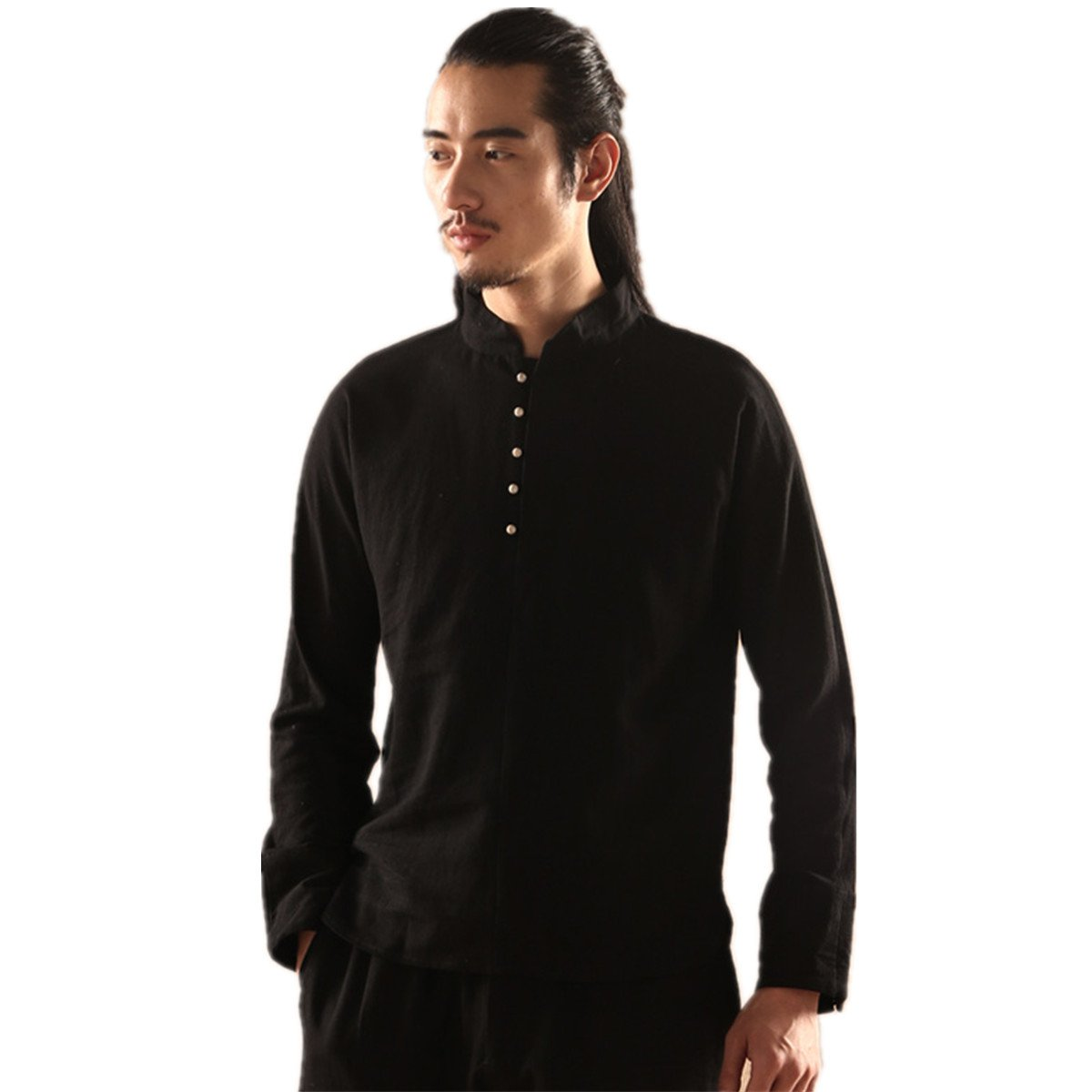 WEISAN Mens Chinese Traditional Tang Suit Cotton Linen Spring Autumn Kung Fu Costume