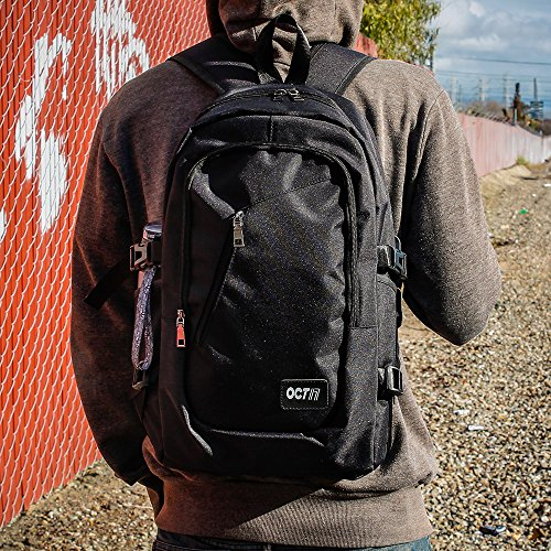 Oct17 Business Laptop Backpack, Slim Anti Theft Computer Bag, Water-resistent College School Backpack with Headphone Port, Eco-friendly Travel Shoulder Bag with USB Charging Port Fits UNDER 17 - Black by Oct17 (Image #8)