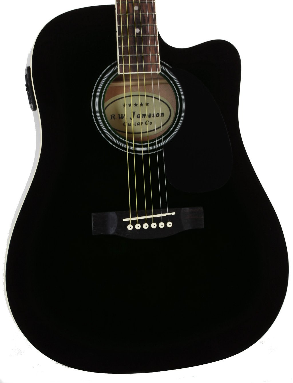 Full Size Thinline Black Acoustic Electric Guitar with Free Gig Bag Case & Picks by Jameson Guitars