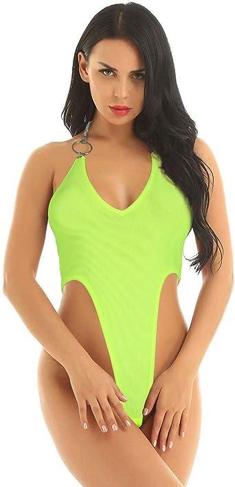 Women Mesh Sheer Leotard Bodysuit Sleeveless Bodycon Monokini One Piece Lingerie