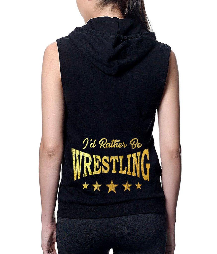 Interstate Apparel Junior's Gold Foil I'd Rather Be Wrestling Black Sleeveless Fleece Zipper Hoodie Large Black