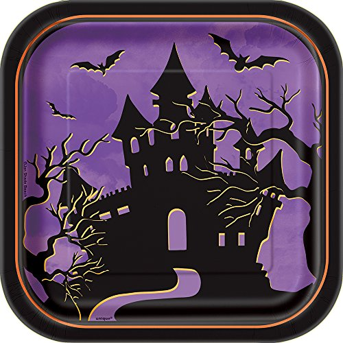 Square Haunted House Halloween Dessert Plates, 10ct ()