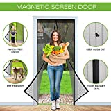 SHINE HAI Magnetic Screen Door with Heavy Duty Mesh Curtain Full Frame Velcro Fits Door Up to 34 x 82-inch Max, Black