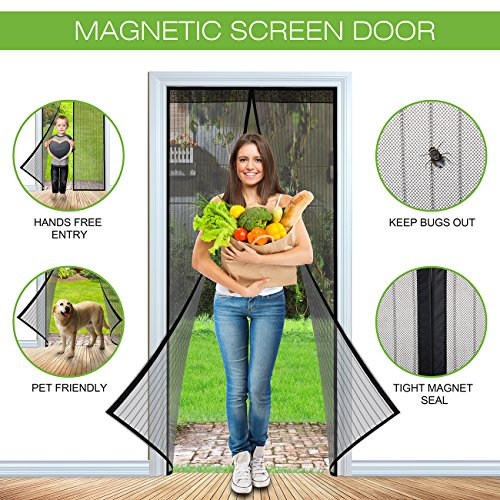 SHINE HAI Magnetic Screen Door with Heavy Duty Mesh Curtain Full Frame Velcro Fits Door Up to 34 x 82-inch Max, Black Patio Screen Door Frame