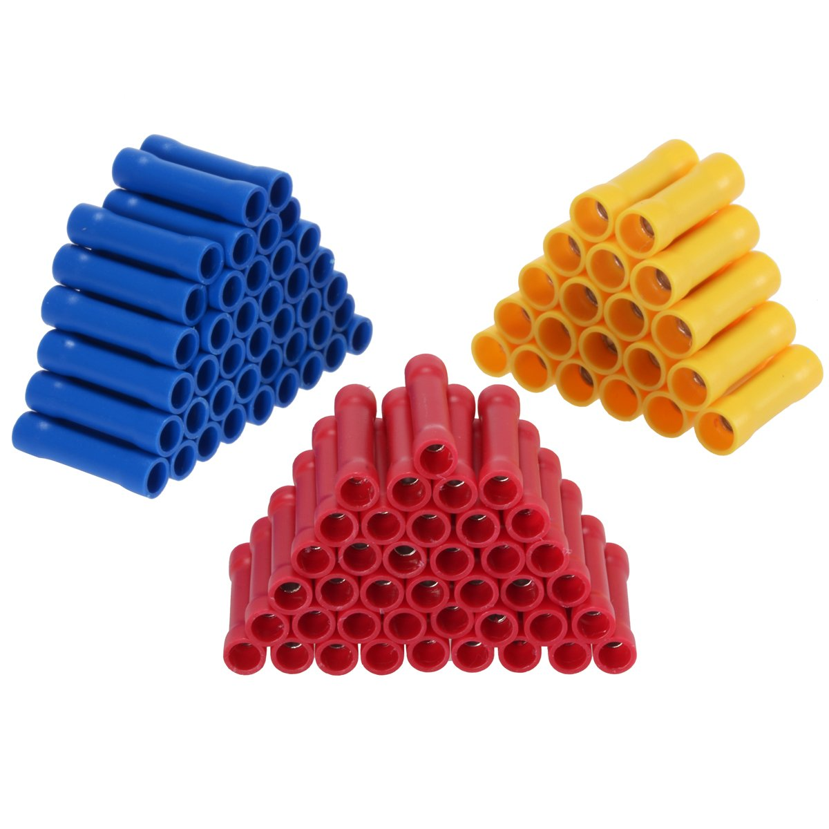 /16//16/ PChero 100/piezas de Assorted Insulated Straight Wire Butt Connector Electrical Automotive Cable Crimp Terminales para 22/ /14//12/ /10/AWG vino