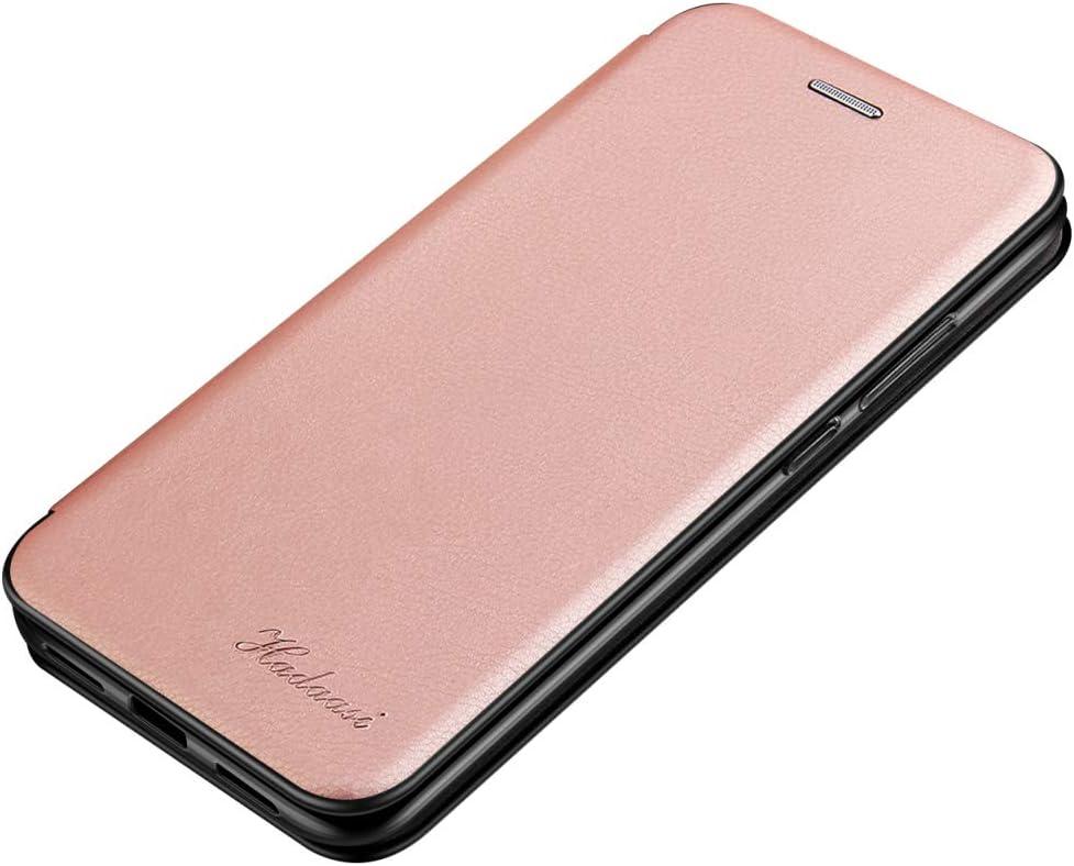 Suhctup Compatible con Xiaomi Note 5/Note 5 Pro [Intérieur Microfibre] Magnétique Clip Portable Antichoc Silicone Bumper Housse,Mince Rabat Fentes pour Cartes Stand Pliant Kickstand(Oro Rosa)