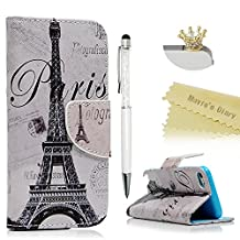 Touch 5,Touch 6 Wallet Case - Mavis's Diary Premium PU Leather with Magnetic Clasp Card Holders Flip Cover for iPod Touch 5th & 6th Generation with Golden Crown Dust Plug & Crystal Pen (Eiffel Tower)