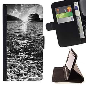 For Samsung Galaxy S6 Case , Cascada Topacio Verde- la tarjeta de Crédito Slots PU Funda de cuero Monedero caso cubierta de piel