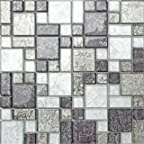 30x30cm Black & Silver Hong Kong Foil Glass Mosaic Tiles Modular Random Mix Sheet MT0044 by Grand Taps