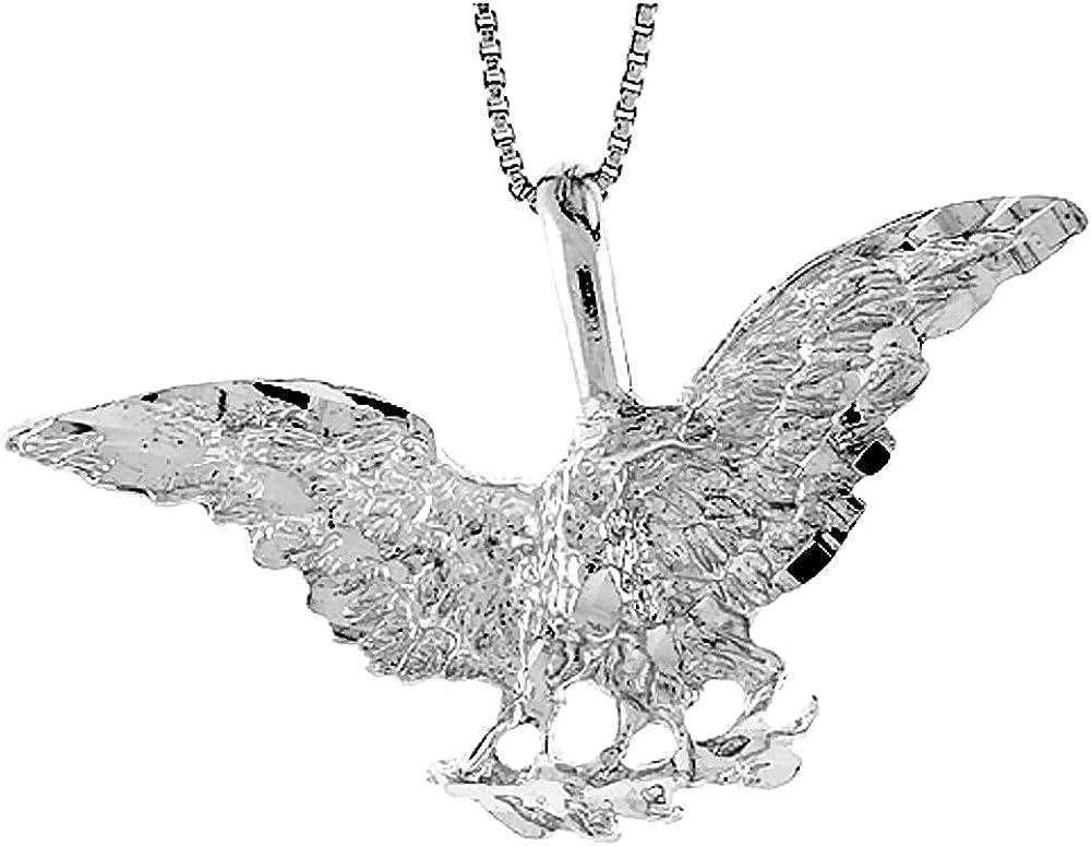 Sterling Silver Eagle Pendant 1 3//4 x 5//8 inch