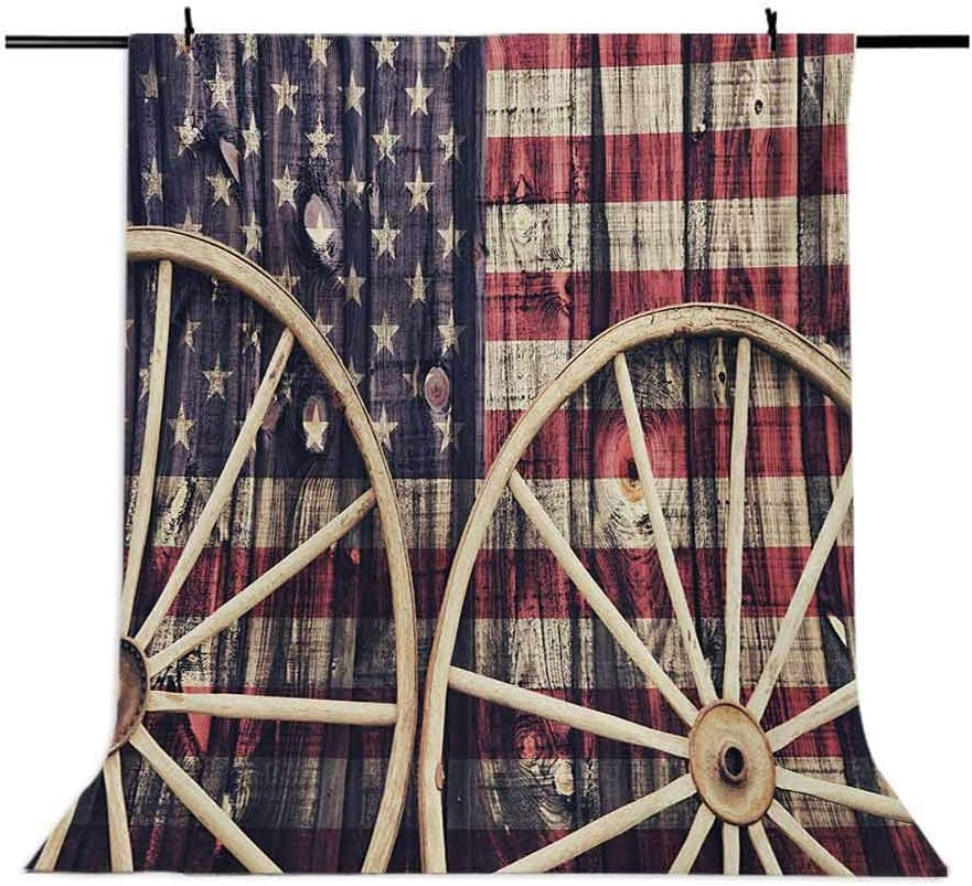 Western 8x10 FT Photo Backdrops,Antique Cart Carriage Wheels with American Flag in Retro Vintage Colors New World Print Background for Baby Birthday Party Wedding Vinyl Studio Props Photography Multi