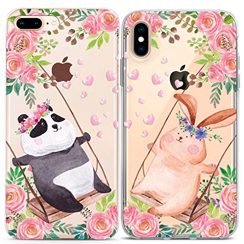 Lex Altern Couple iPhone Case Xs Max X Xr 10 8 Plus 7 6s 6 SE 5s 5 TPU Cute Animals Clear Roses Pink Gift Apple Girlfriend Panda Bunny Best Friend Bff Phone Cover Anniversary Print Protective Flowers