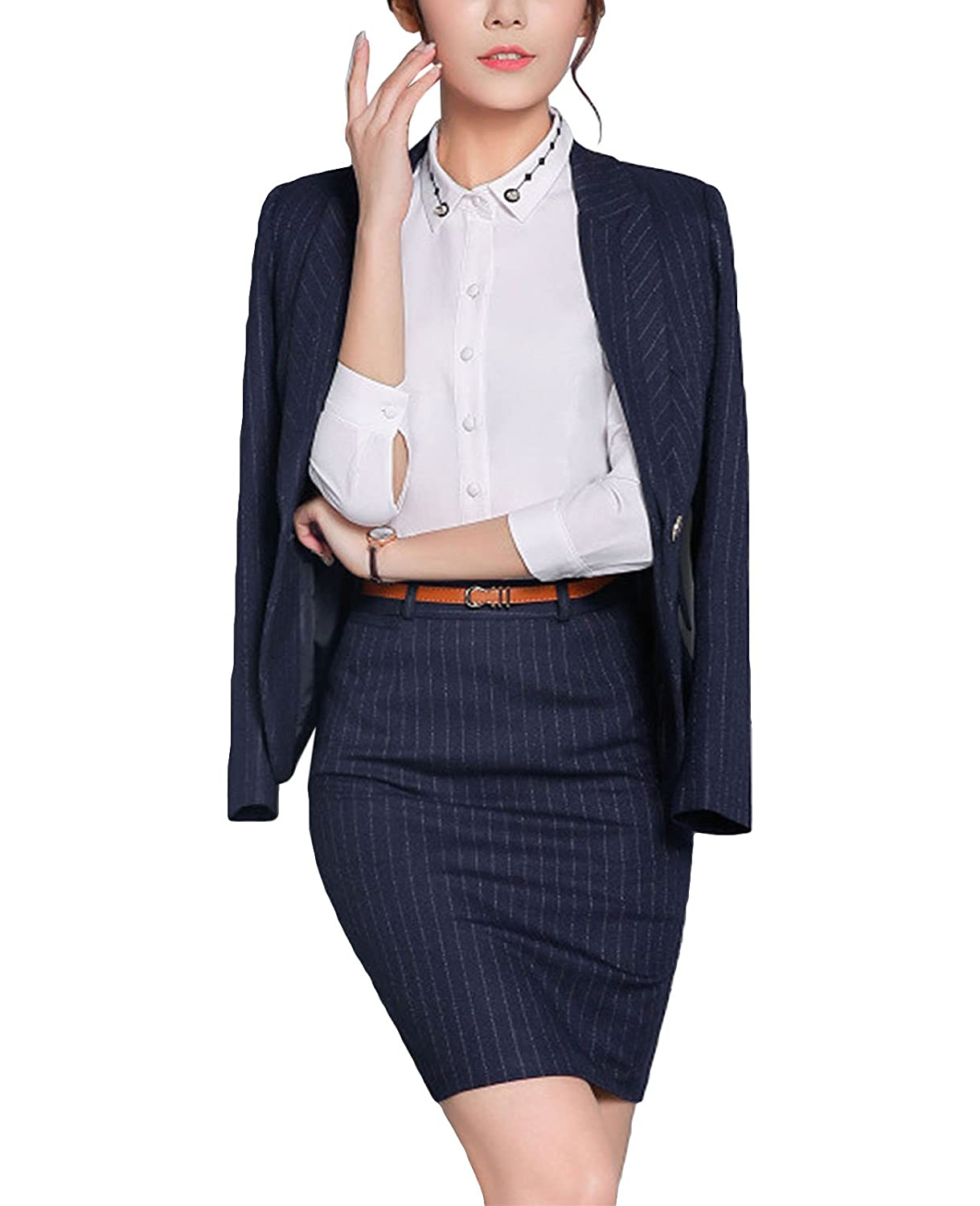 MFrannie Women Slim Fit Office Lady Stripes Work Blazer Jacket and Skirt Suit Set