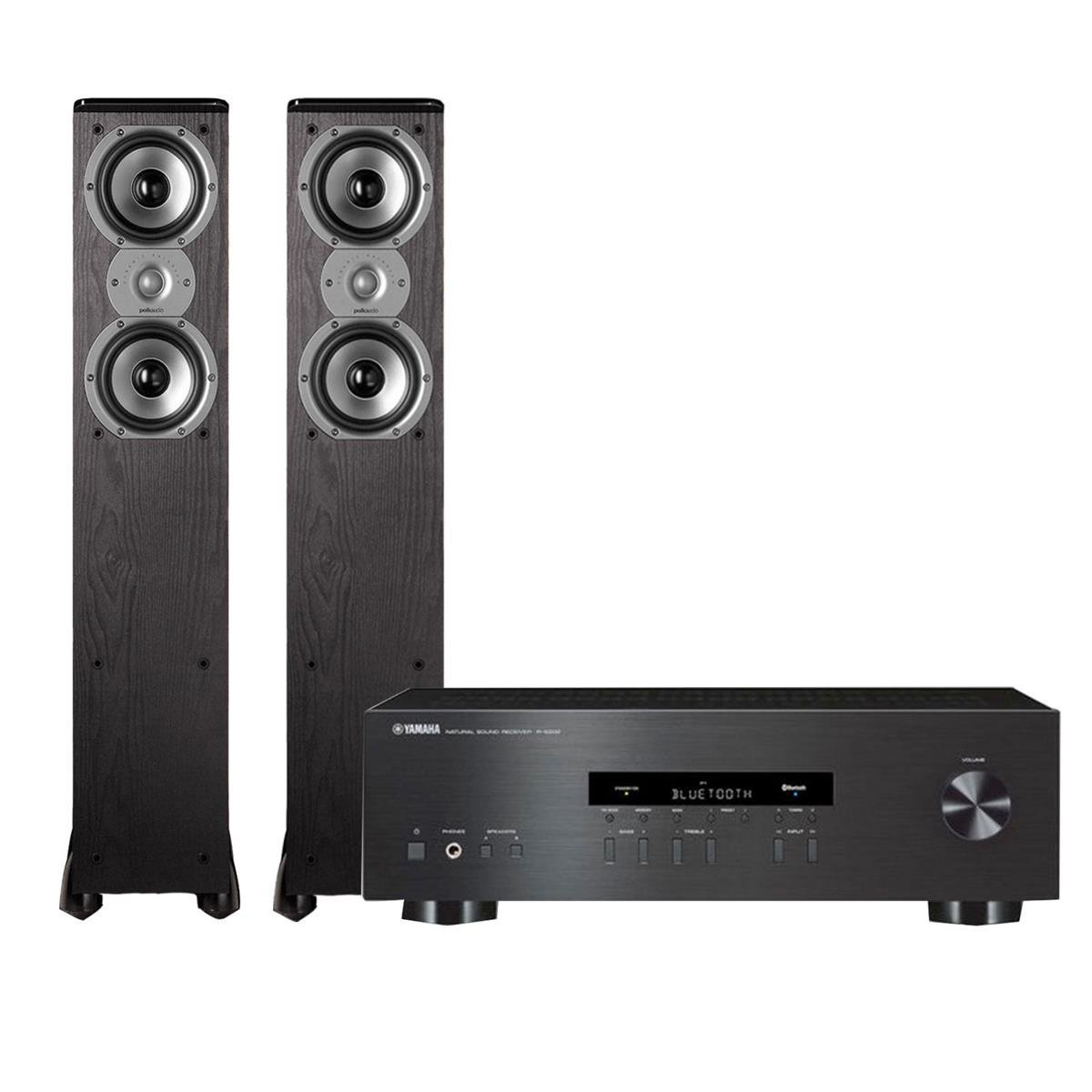 Yamaha R-S202 Stereo Receiver with Bluetooth and Polk TSi300 3-Way Tower Speakers with Two 5-1/4'' Drivers - Pair (Black) by Yamaha
