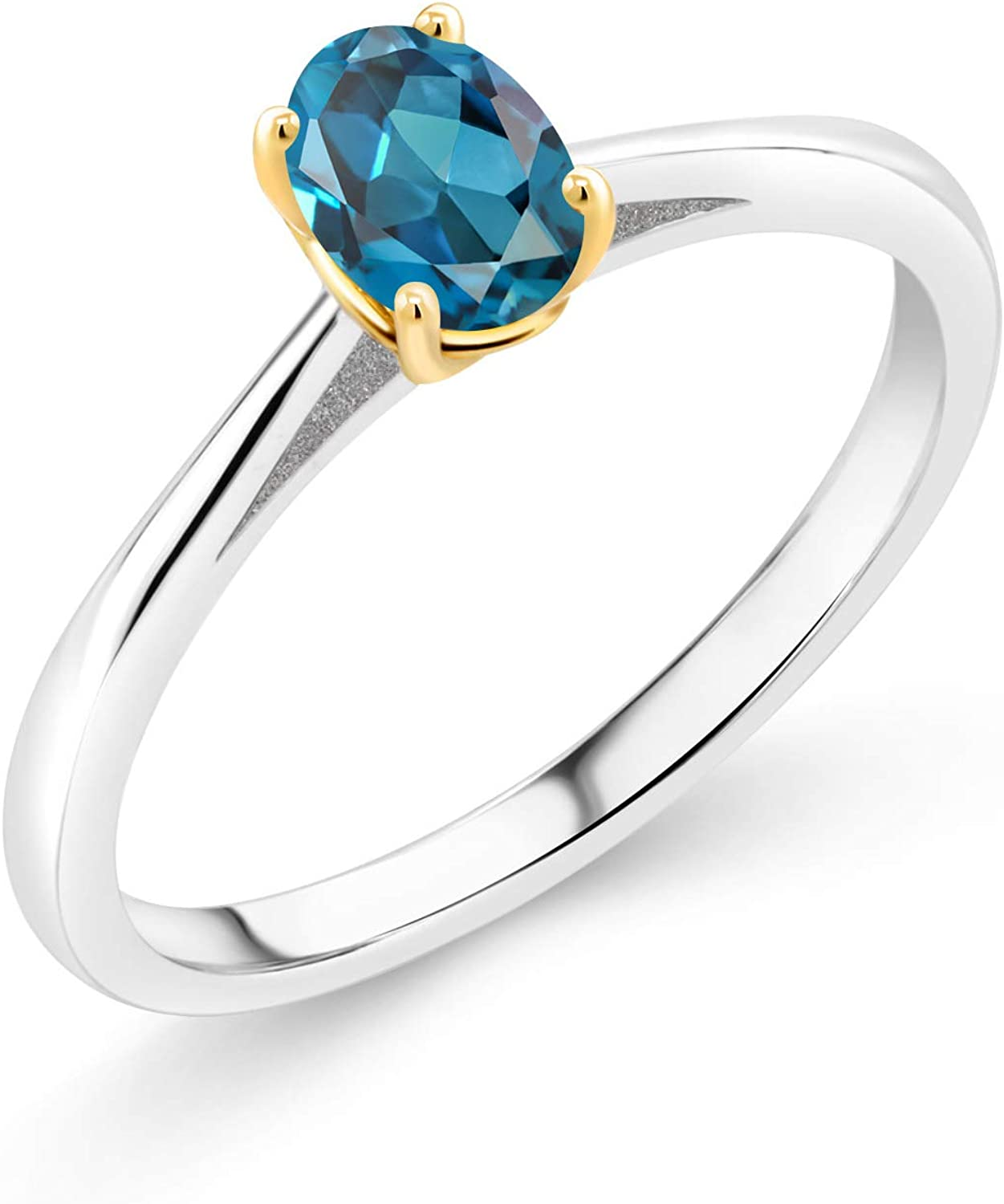 Gem Stone King London Blue Topaz 925 Sterling and 10K Yellow Gold Women Engagement Ring (0.60 Ct Oval, Gemstone Birthstone, Available in size 5, 6, 7, 8, 9)