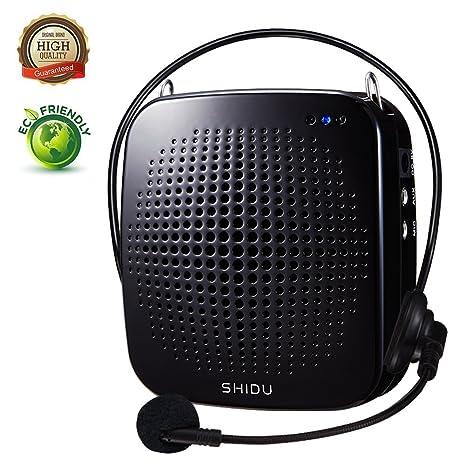 Amplificador de voz portátil 15W, personal con micrófono con cable Auriculares Altavoz de micrófono amplificador