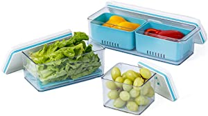 Lille Home Stackable Produce Saver, Organizer Bins/Storage Containers with Removable Drain Tray, Set of 3, for Refrigerators, Cabinets, Countertops and Pantry, BPA Free (Blue)