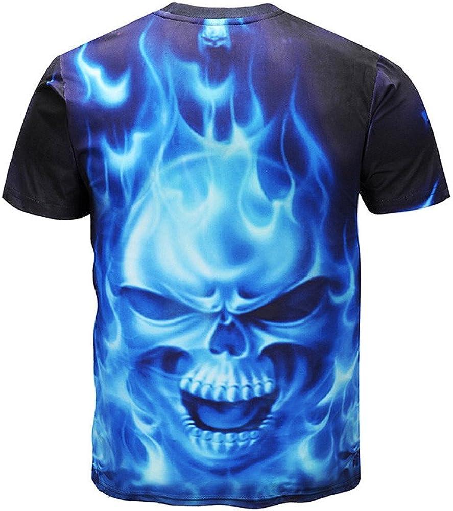 Zackate Mens 3D Skull Printed T-Shirt Gothic Short Sleeve O-Neck Sweatshirts Tee Blouse Tops Tank Shirts