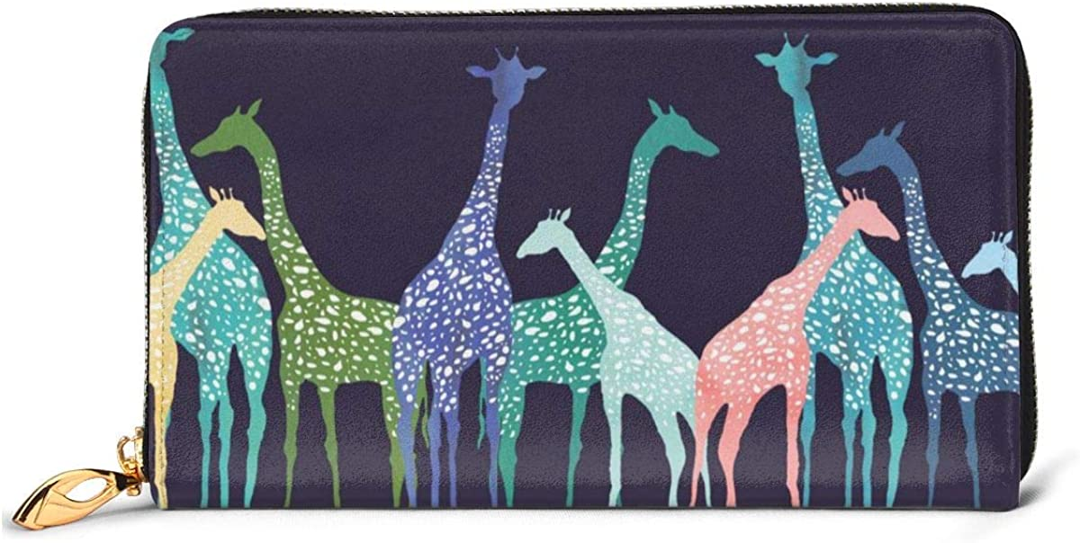 12 Slots Card Holder Leather For Teenage Girls Colored Giraffe Womens Leather Wallet Clutch Bag Long Purse Organizer