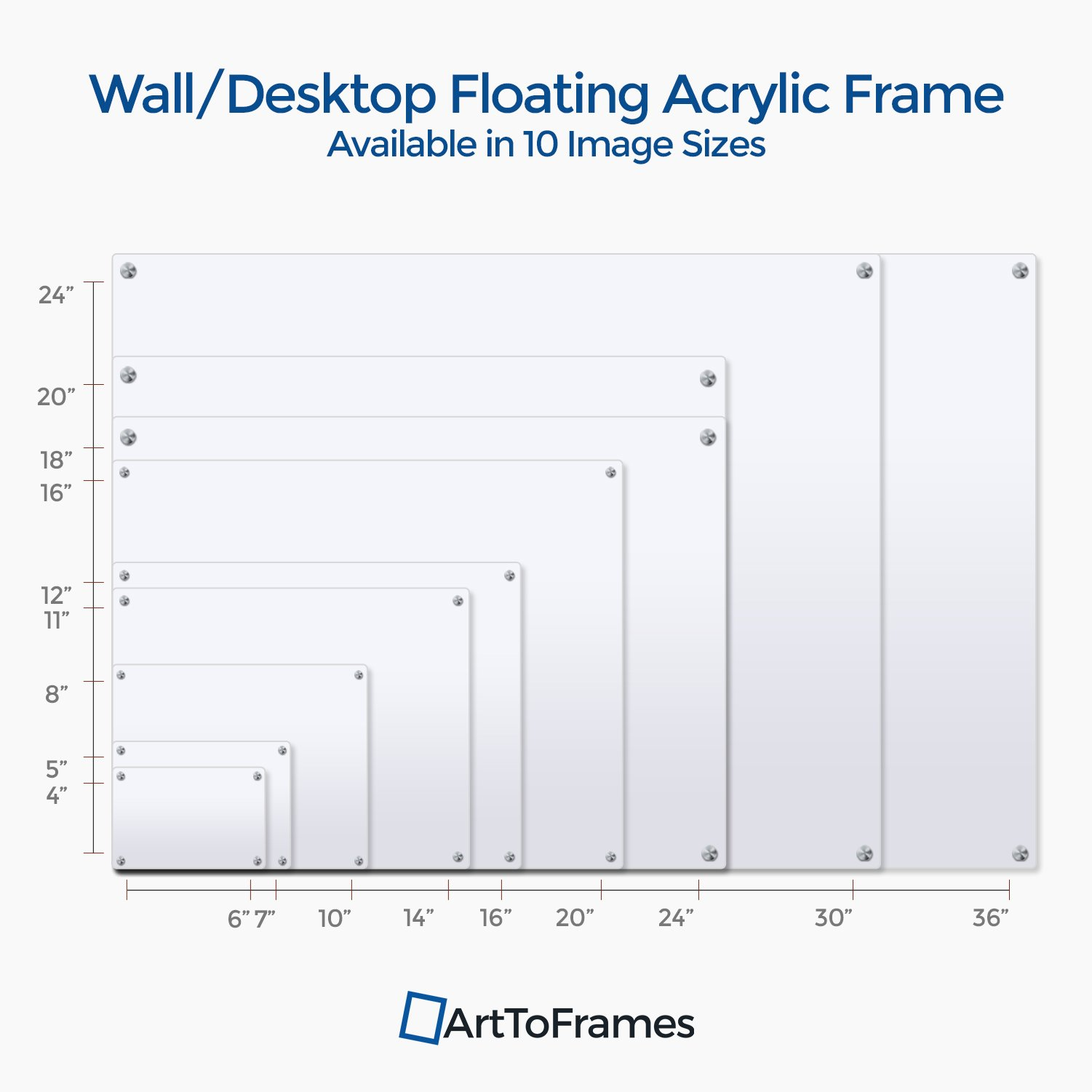 ArtToFrames Floating Acrylic Frame for Pictures Up to 16x20 inches (Full Frame is 20x24) with Gold Standoff Wall Mount Hardware, Acrylic-109-16x20-71 by ArtToFrames (Image #6)