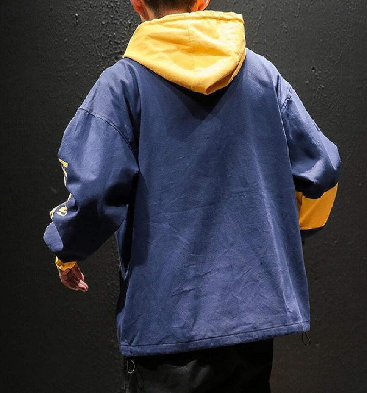 pujingge Mens Hipster Hip Hop Autumn Pullover Loose Hoodie Long Sleeve Sweatshirt