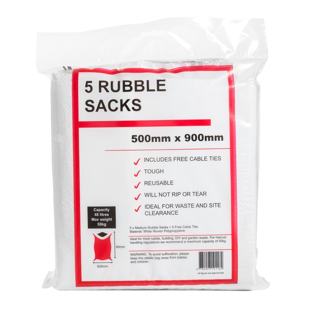 Woven Rubble Sacks x 5 + Free Cable Ties. Heavy Duty Sacks Great for General Rubble and Waste Weir & Carmichael