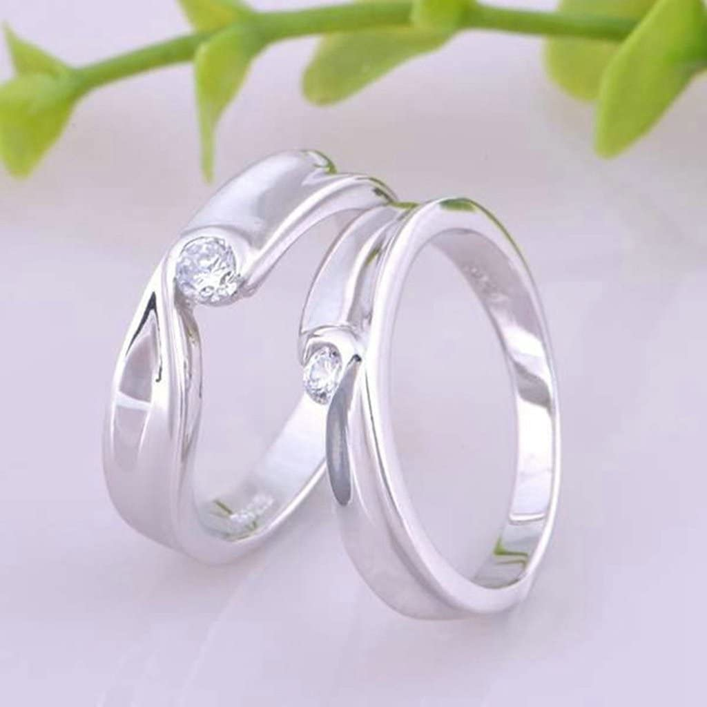 Silver Anniversary Rings CZ Heart Puzzle Rings For His Matching Rings 5mm Size 4.5 Gnzoe Jewelry