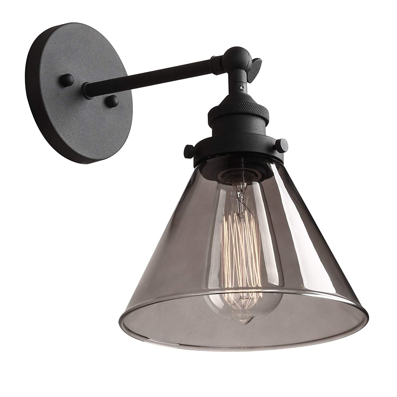 Phansthy edison industrial wall sconce 7 3 inch glass wall light fixture decorative lighting for kitchen living room gallery hallways 1 light grey