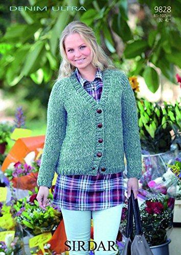 0bf980d597d2 Sirdar Ladies Denim Ultra Super Chunky Cardigan Knitting Pattern 9828   Amazon.co.uk  Kitchen   Home