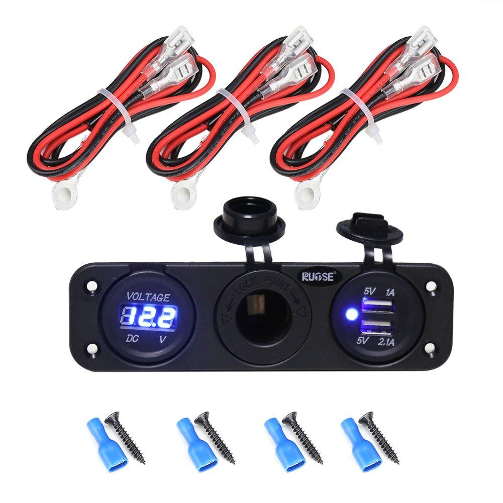 Caricabatterie Dual USB + Voltmetro digitale LED blu + Presa 12V Presa elettrica Pannello per dispositivi Cellulare Tablet con fili Rupse