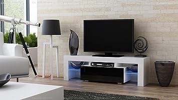Meuble Tv Spider à Led En Blanc Mat Avec Porte Noir Laqué 130 Cm