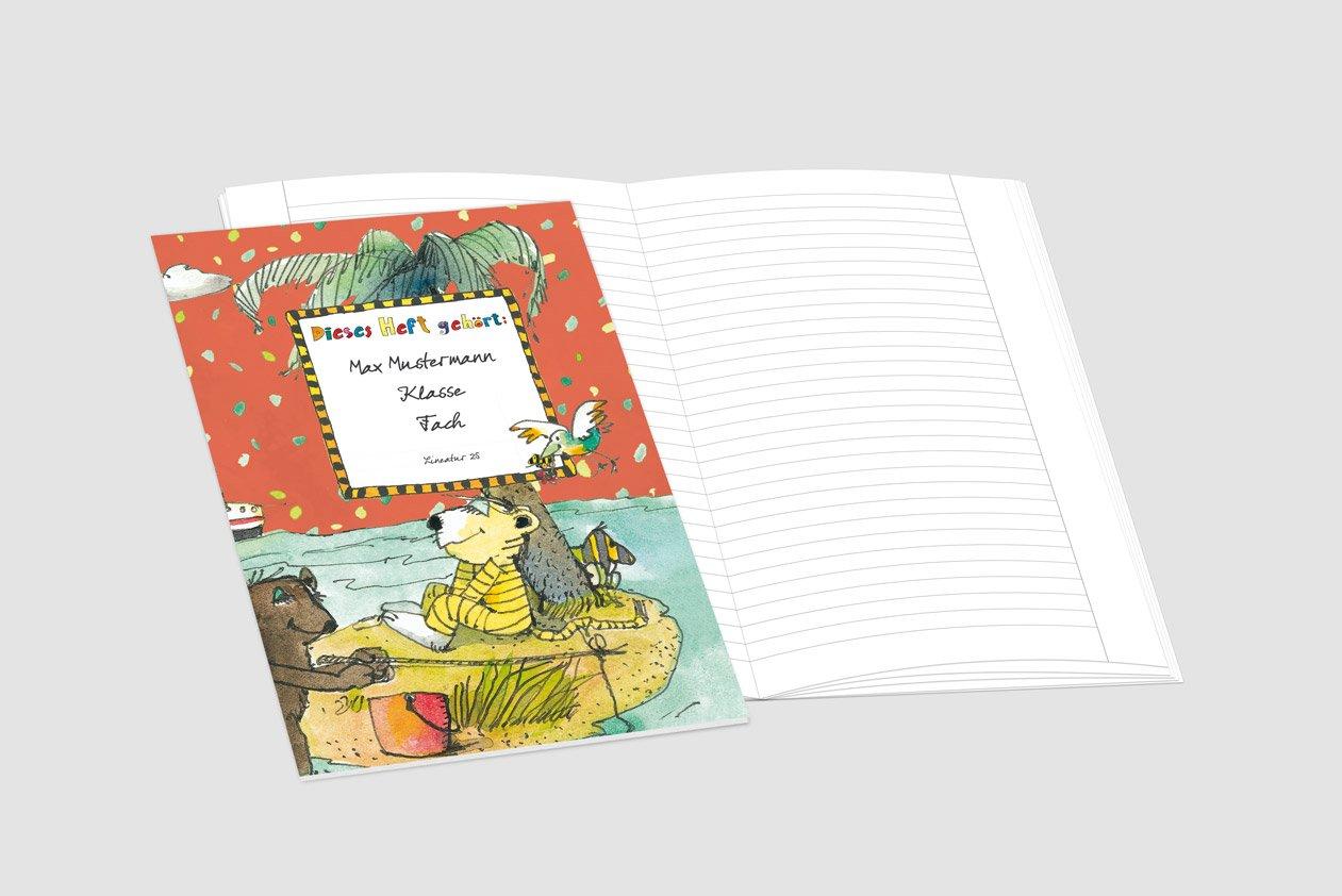 24 lustige JANOSCH-Schulhefte A4, »Auf der Trauminsel«,Lineatur 20, 20, 20, Ozeanblau, personalisierbar, 32 Seiten B077SF2P2D | Hochwertige Produkte  f5572e