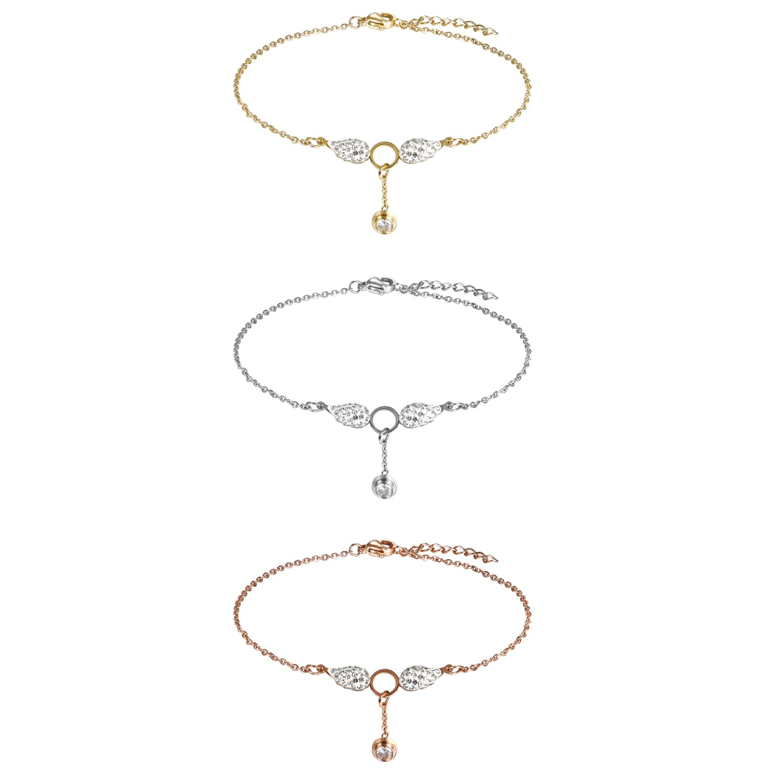 Flongo Womens Girls Charm 3PCS Stainless Steel Angle Wing Bling CZ Link Bracelet Valentine Wedding Anniversary Anklet Gift, 9.64 inch