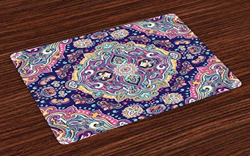 - Ambesonne Ethnic Place Mats Set of 4, Boho Style Mandala Colorful Spring Garden Themed Old Fashioned Tile, Washable Fabric Placemats for Dining Table, Standard Size, Navy Pink