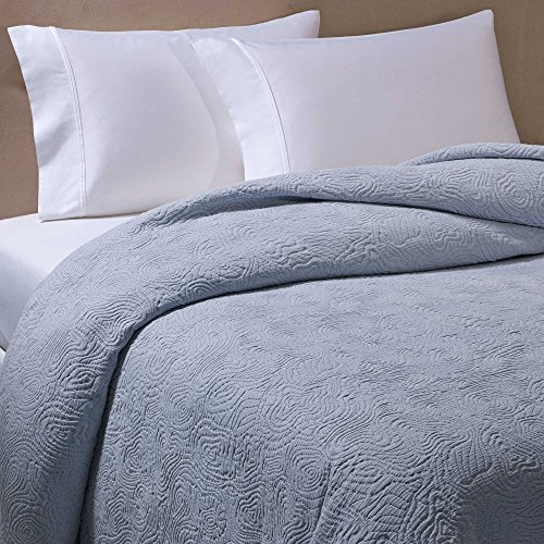 Barbara Barry Arroyo King Coverlet in Medium Blue