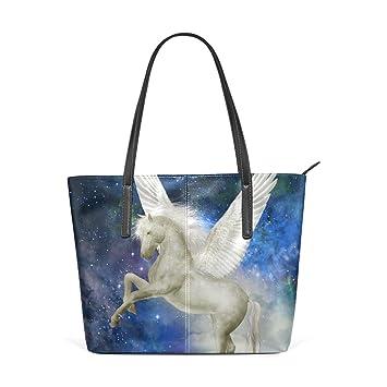 4b9e0ba054062 COOSUN Einhorn im Himmel mit großen Wolken PU-Leder Umhängetasche Handtasche  und Handtaschen Tasche für