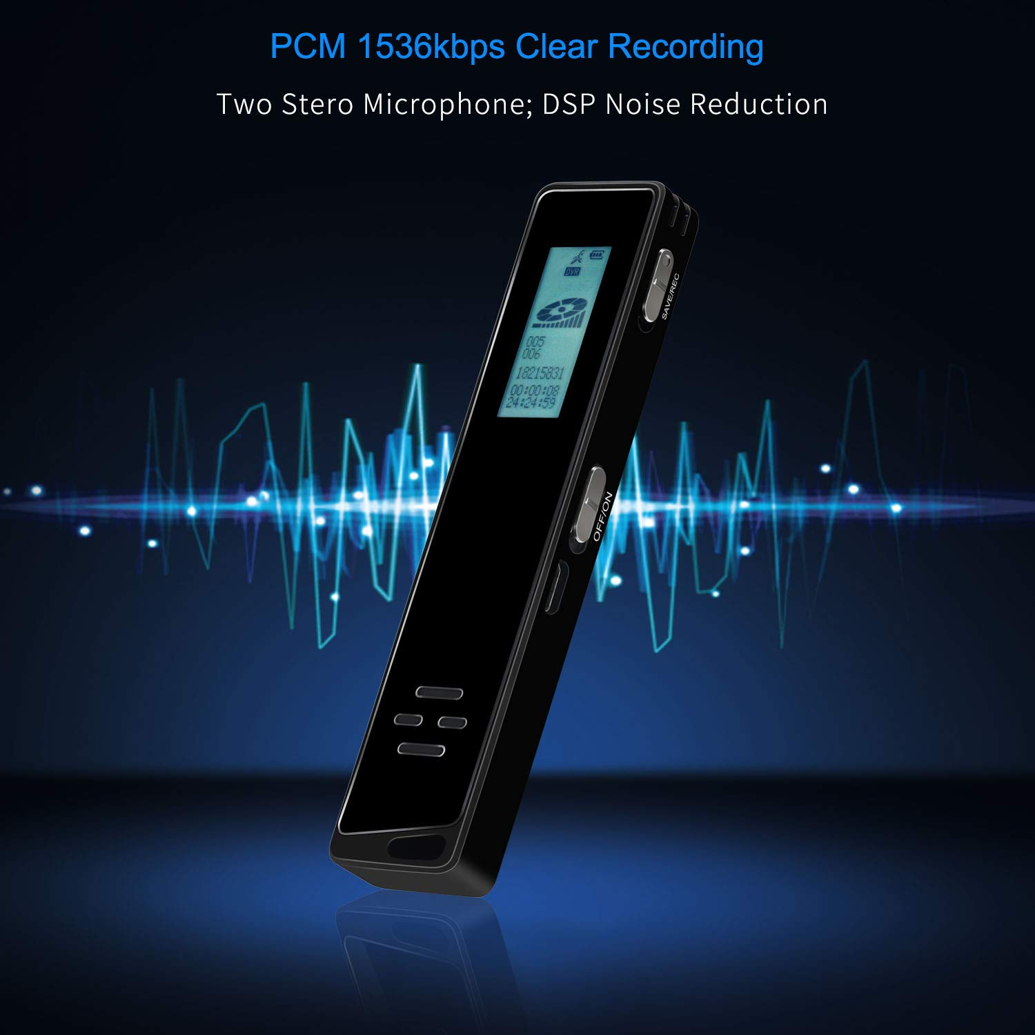 Digital Voice Activated Recorder for Lectures and Meetings with Double Noise Reduction Audio Microphone Rechargeable 16GB HD Sound Tape Mini Spy Dictaphone Recording Device with Mp3 Player USB