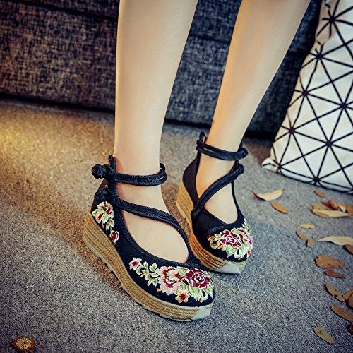 Jane Correa Bailarinas Mary Estilo Zapato Negro Hebilla Insun con Plataforma BqwZx8PcTH